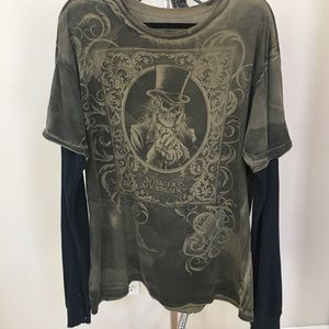 Affliction Shirt Skeleton with Top Hat